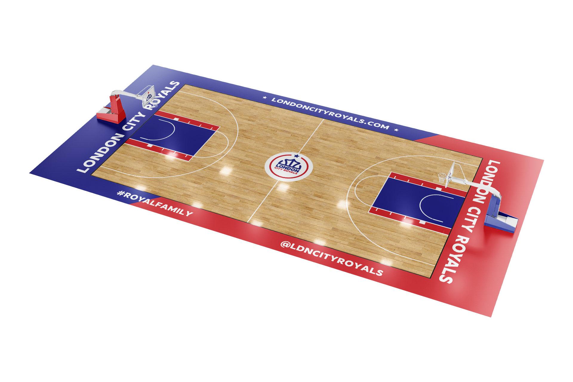 London-city-royals-branding-logo-basketball-court-design-by-orfi-media
